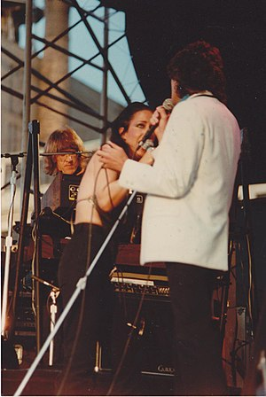 Jefferson Starship - Grace Slick, Paul Kantner and Mickey Thomas of Jefferson Starship, NYC, 1981 Pier 84