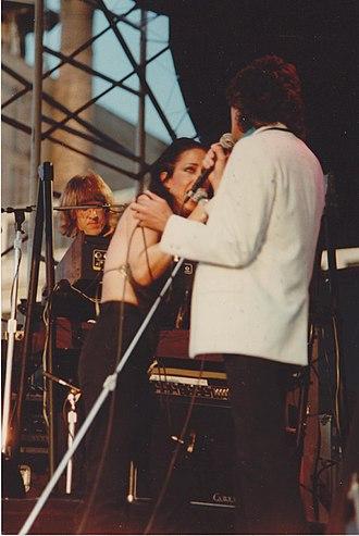 Jefferson Starship - Grace Slick, Paul Kantner and Mickey Thomas of Jefferson Starship, NYC, 1981 Pier 84
