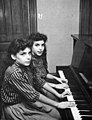 Jennie and Terrie Frankel at piano, 8 years old (1958).jpg
