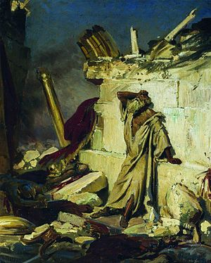 Cry of prophet Jeremiah on the Ruins of Jerusa...