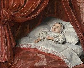 Deathbed portrait of a child, probably Catharina Margaretha van Valkenburg (1680-1682)