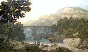 John Dobbin - 'Anglers in a mountainous river landscape' (1881)