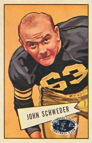 John Schweder - Schweder on a 1952 Bowman football card