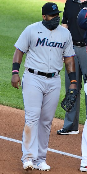 Juan Soto gives thanks from the Nationals and Marlins at Nationals Park, August 24, 2020 (All-Pro Reels Photography) (50265464548) (cropped).jpg