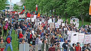 Protests against the war in Afghanistan (2001–2014) - June 22, 2007 protest in Quebec City against Canada's involvement in the Afghan war.