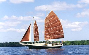 Junk rig - Colvin Gazelle: schooner junk rig with conventional jib sail
