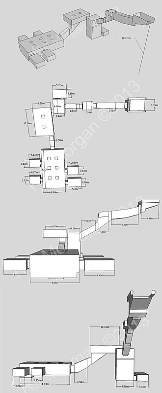 KV35 - Isometric, plan, and elevation images of KV35 taken from a 3-D model