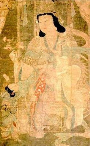 Hariti - Kishimojin as a demon mistress with infant. 12th-13th century, Kamakura period. Daigo-ji, Kyoto, Japan.