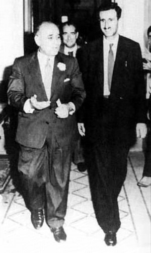 Kamal Jumblatt - Kamal Jumblatt (right) and Saeb Salam in Damascus, 1957.