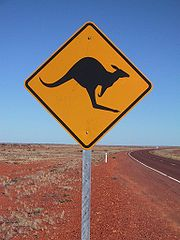 Výstražné znamení upozorňující na možnost přebíhání klokanů přes silnici