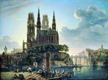 Gotischer Dom am Wasser, Gemälde Schinkels von 1813. (Quelle: Wikimedia)