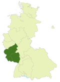 Map of Germany:Position of Oberliga Südwest highlighted