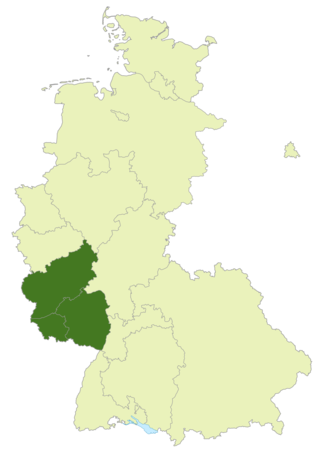Oberliga Südwest (1945–63) - Map of Germany:Position of Oberliga Südwest highlighted