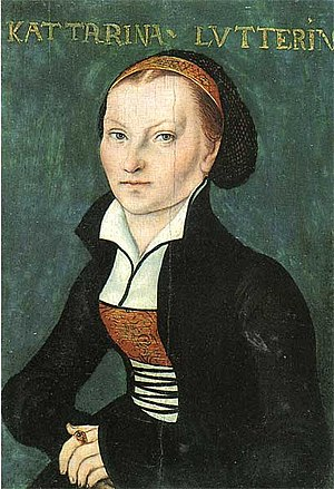Katharina von Bora - Kattarina Lutterin, as the script reads, depicted by Lucas Cranach the Elder, 1526.