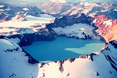 Mount Katmai and its crater lake