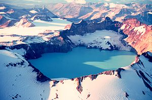 Katmai National Park and Preserve - The summit crater lake of Mount Katmai