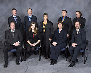 Kelowna City Council - 2008-2011 Back (l-r): Kevin Craig, Robert Hobson, Mayor Sharon Shepherd, Andre Blanleil, Charlie Hodge   Front (l-r): Graeme James, Angela Reid, Michele Rule, Luke Stack