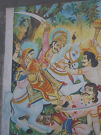 Banai (goddess) - Painting on the outer wall of Banai's temple, Jejuri. Khandoba and Mhalsa are depicted killing the demons. Rarely, Banai replaces Mhalsa in the description of the incident.