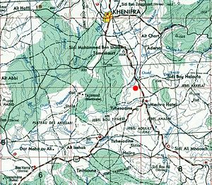 Battle of El Herri - Location of the battle shown on a 1953 map of the area