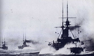 3rd Battle Squadron - King Edward VII-class battleships on manoeuvres ca. 1909.