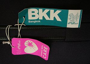 Luggage tags of PBair.