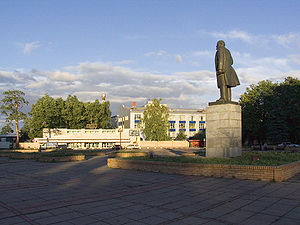 Krasnogorsky Zavod - Opticians' Square in Krasnogorsk, with KMZ buildings in the background