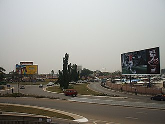 Transport in Ghana - Traffic Circle in Greater Accra, Ghana.
