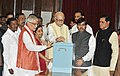 L.K. Advani casting his vote in the Vice Presidential election at Parliament House, in New Delhi on August 07, 2012. The Leader of Opposition in Lok Sabha, Smt. Sushma Swaraj and other dignitaries are also seen.jpg