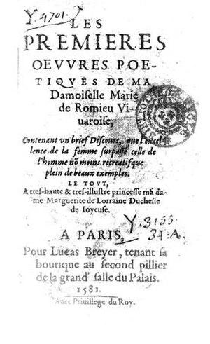 """Marie de Romieu - First page of Marie de Romieu's """"Les Prémières Oeuvres"""""""