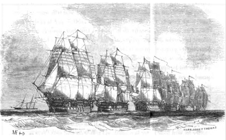Line of battle - A French squadron forming the line of battle circa 1840. Drawing by Antoine Morel-Fatio.