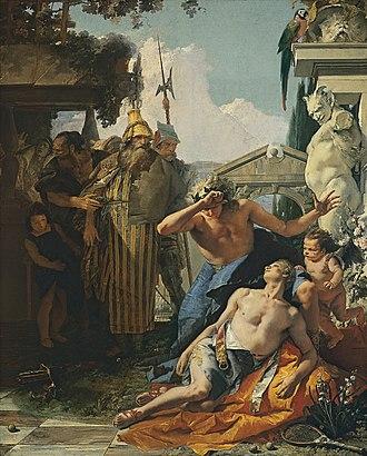 Hyacinth (mythology) - The Death of Hyacinth by Giovanni Battista Tiepolo. Museo Thyssen-Bornemisza, Madrid.