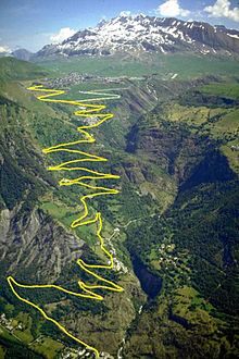 Panorama Of The Famous  Bends Towards Alpe Dhuez With Outline