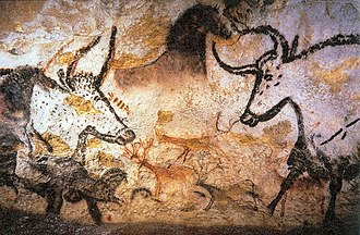 Europe - Paleolithic cave paintings from Lascaux in France (c 15,000 BC)