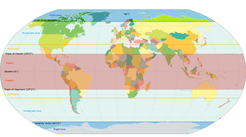 The different geographical zones of the world. The temperate zones span from either north or south of the subtropics (north of the yellow dotted line, at 40 degrees north) to the polar circles. Latitude zones.png