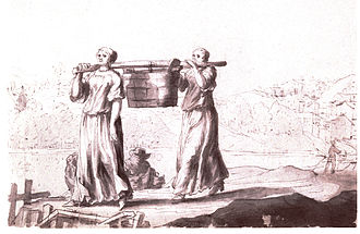 History of women in the United States - Women's work in the  17thCentury, carrying a communal latrine