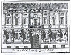 Leone Leoni - The Casa degli Omenoni that Leoni designed for himself, engraving from Serviliano's Descrizione di Milano, 1738.