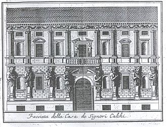 Leone Leoni - The Casa degli Omenoni that Leoni designed for himself, engraving from Serviliano's Descrizione di Milano, 1738.