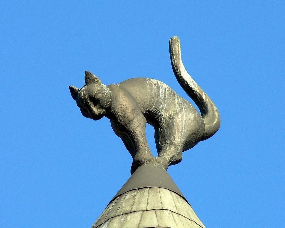 Météo Riga : Maison au chat sous le ciel bleu de la capitale lettone.