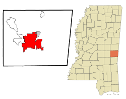 Location of Meridian in Lauderdale County