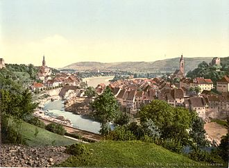 Laufenburg, Aargau - Rhine river at Laufenburg, from 1900