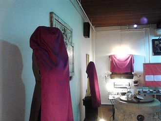 Lent - Statues and icons veiled in violet shrouds for Passiontide in St Pancras Church, Ipswich, England