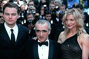 Diaz with Leonardo DiCaprio and Martin Scorsese at the 2002 Cannes Film Festival