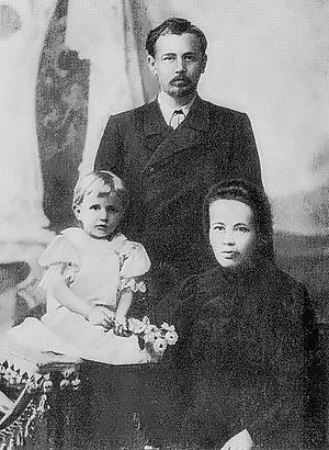 Mykola Leontovych - Mykola Leontovych with his family