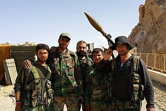 Palmyra offensive (March 2016) - Syrian Army soldiers after the battle.