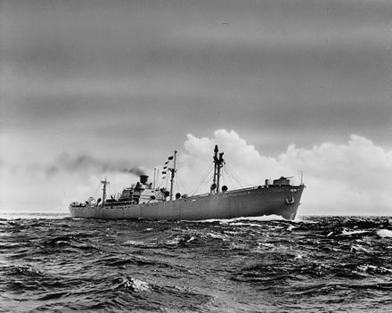 A Liberty ship of the type built at Alabama Drydock and Shipbuilding Company during World War II. Twenty were completed in Mobile. Liberty ship at sea.jpg