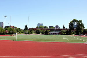 Lincoln High School (Portland, Oregon) - Urban track and buildings at Lincoln