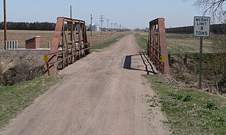 Route of the Lincoln Highway - The Lincoln Highway crossed Prairie Creek in southwestern Platte County, Nebraska on this bridge.  This is part of a 1.2-mile (2.0 km) section of the highway that is listed in the National Register of Historic Places.