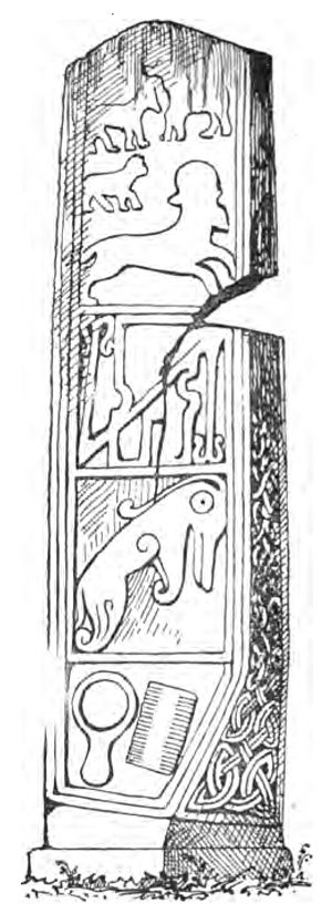 Kelpie - Pictish beast featured in a line drawing of the Maiden Stone