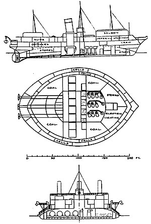 Russian yacht Livadia (1880) - Drawings of the Livadia published by Gulyaev' in Transactions of the Institution of Naval Architects, 1881.