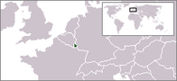 A map showing the location of Luxembourg